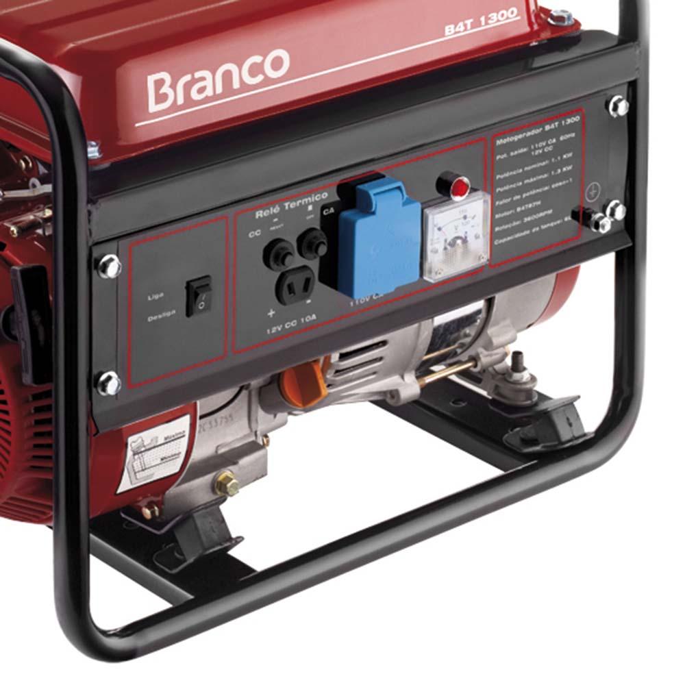 Gerador de Energia à Gasolina Branco 1.3 KVA