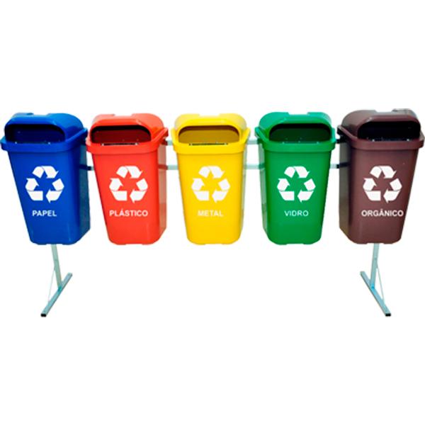 Coleta Seletiva de Lixo Reciclável 50 litros - 5 Lixeiras
