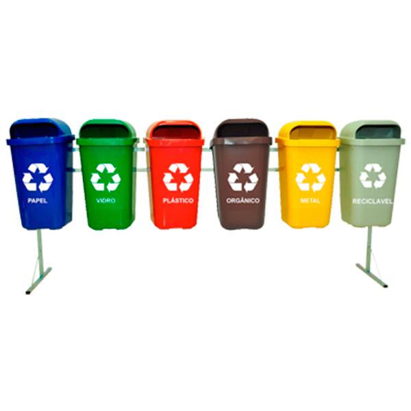 Coleta Seletiva de Lixo Reciclável 50 litros - 6 Lixeiras