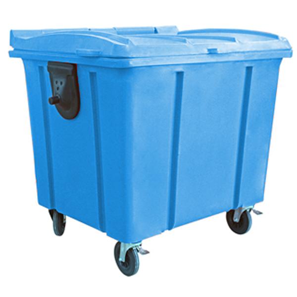 Carrinho Coletor de Lixo com Tampa 1000 Litros Azul
