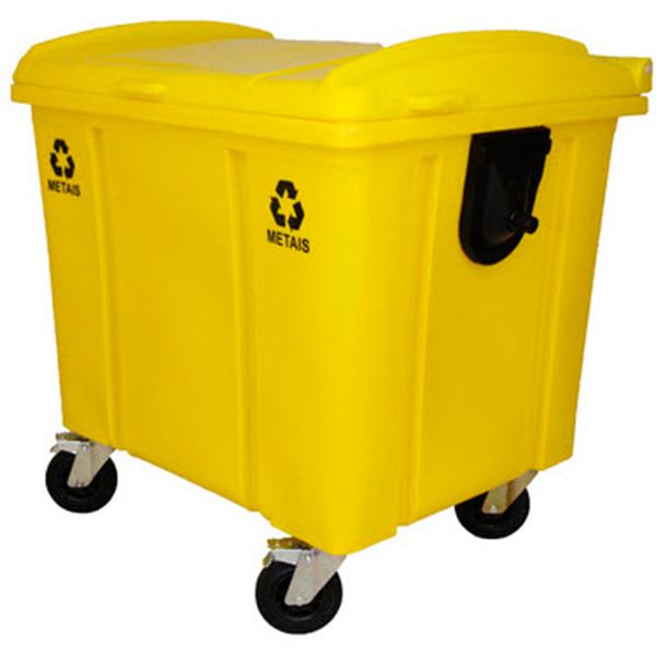 Carrinho Coletor de Lixo com Tampa 1000 Litros Amarelo