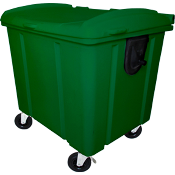 Carrinho Coletor de Lixo com Tampa 1000 Litros Verde
