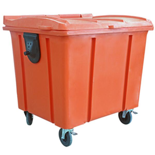 Carrinho Coletor de Lixo com Tampa 1000 Litros Laranja