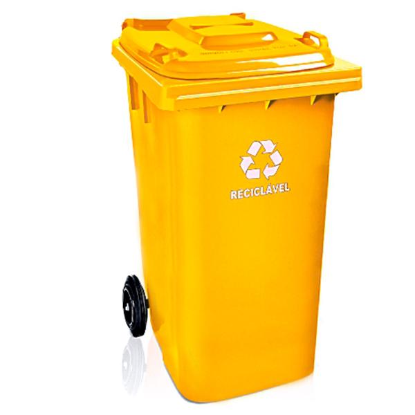 Carrinho Coletor de Lixo com Tampa 120 Litros Laranja
