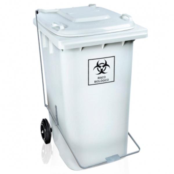 Carrinho Coletor de Lixo com Tampa 240 Litros Branca com Pedal