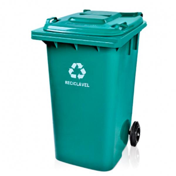 Carrinho Coletor de Lixo com Tampa 240 Litros Verde