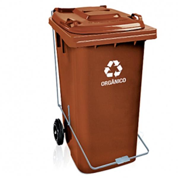 Carrinho Coletor de Lixo com Tampa 240 Litros Marrom com Pedal