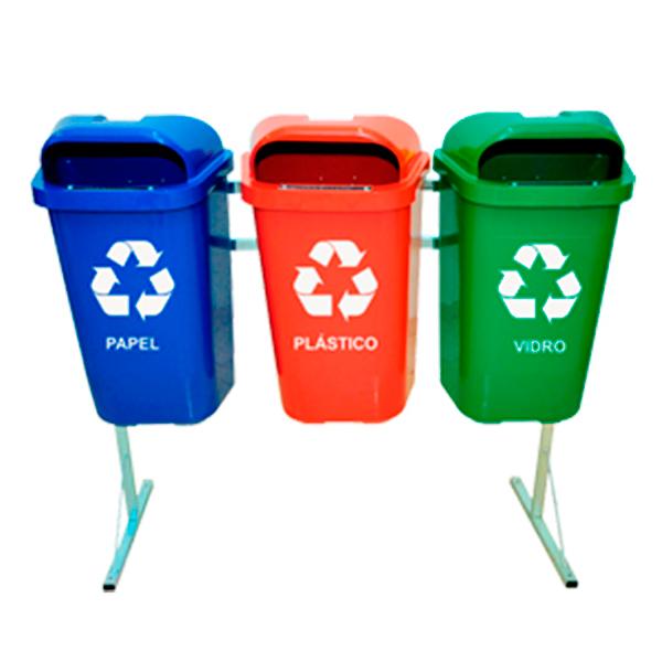 Coleta Seletiva de Lixo Reciclável 50 litros - 3 Lixeiras