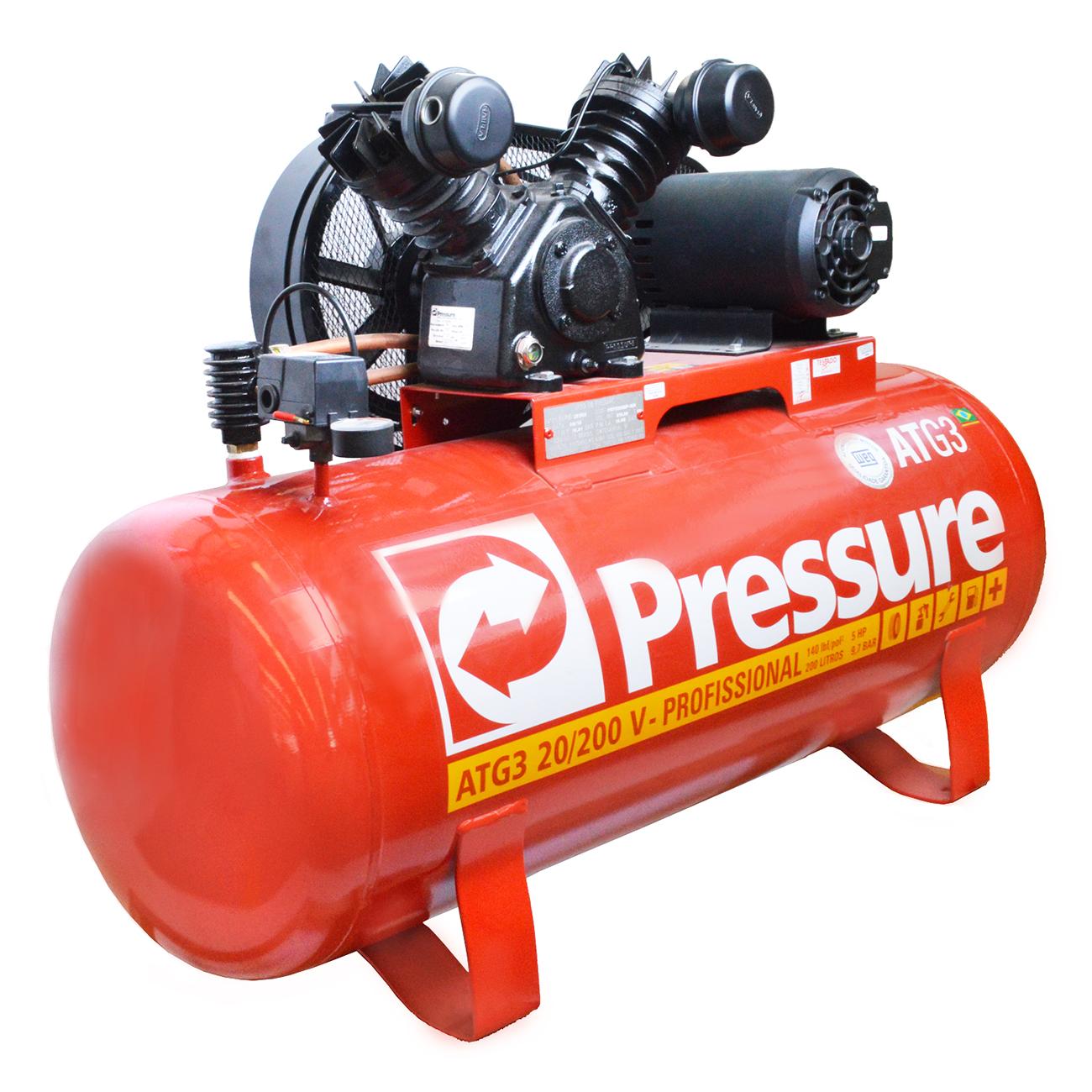 Compressor de Ar Industrial Pressure 200 litros - 20 P�s