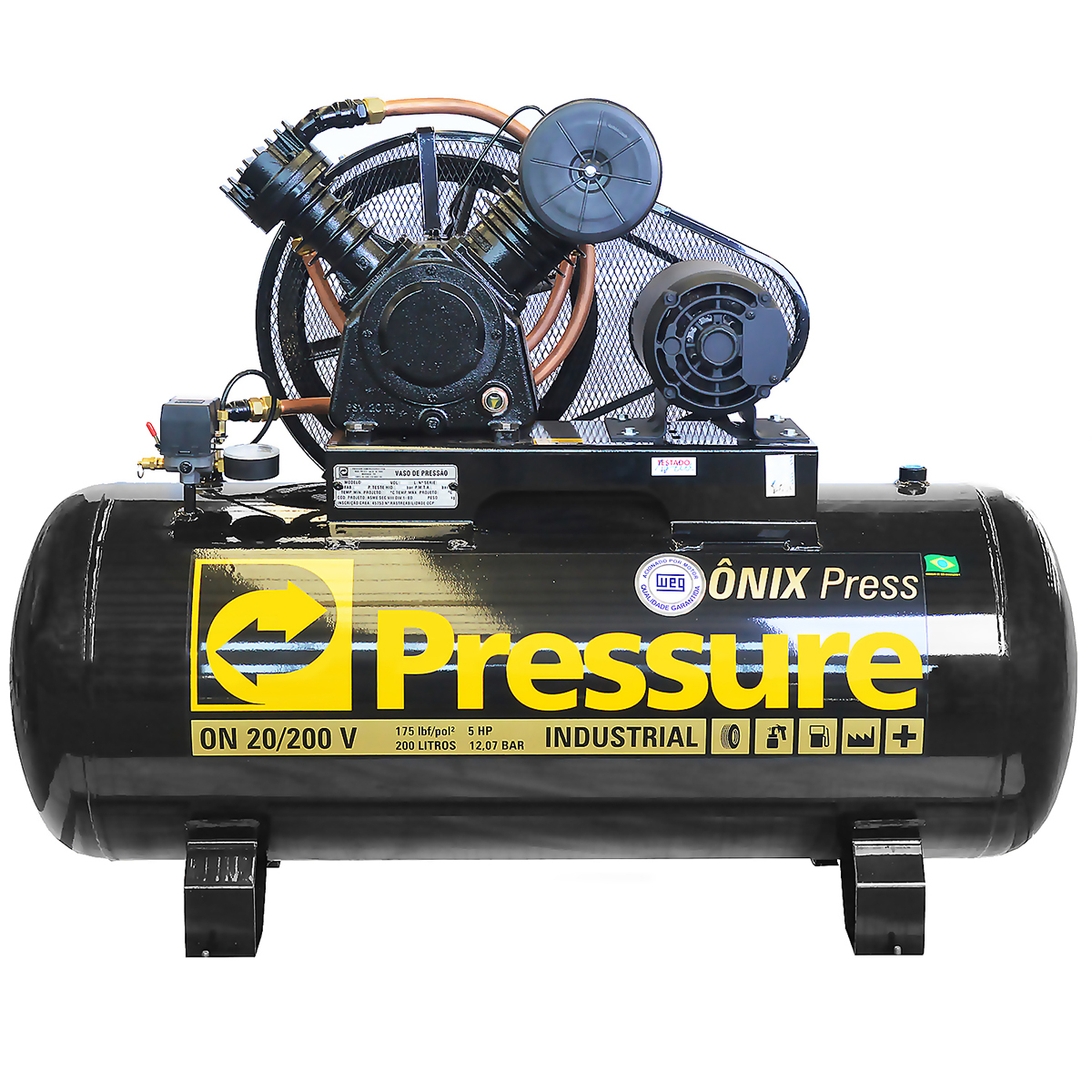 Compressor de Ar Industrial Alta Pressão Pressure 200 litros - 20 pés