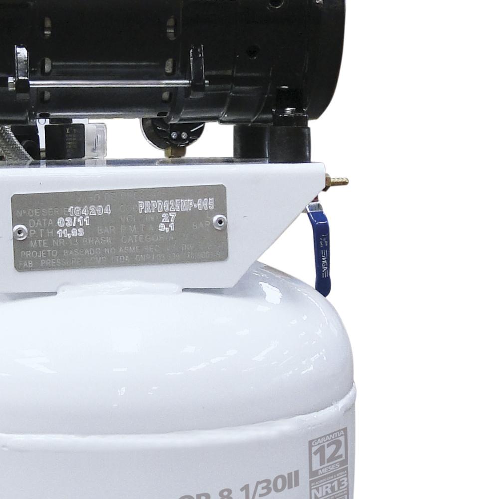 Compressor Médico Odontológico Silencioso Pressure 30 litros - 8 pés