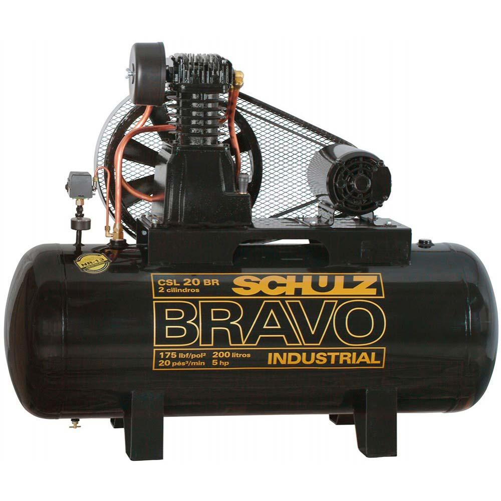 Compressor de Ar Industrial Alta Pressão Schulz 200 litros - 20 pés