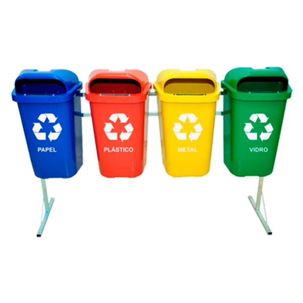 Coleta Seletiva de Lixo Reciclável 50 litros - 4 Lixeiras