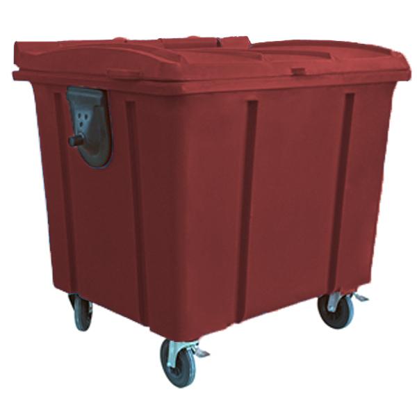 Carrinho Coletor de Lixo com Tampa 1000 Litros Marrom