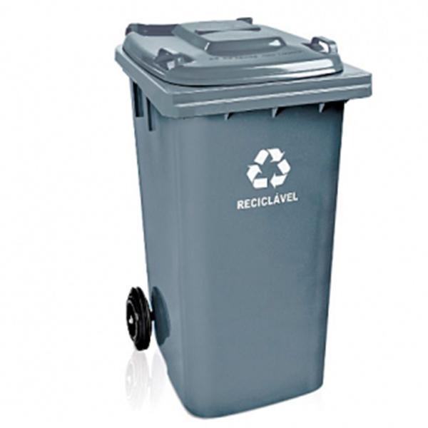Carrinho Coletor de Lixo com Tampa 120 Litros Cinza
