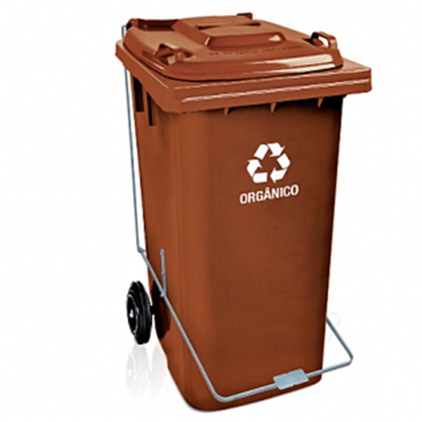 Carrinho Coletor de Lixo com Tampa 120 Litros Marrom com Pedal