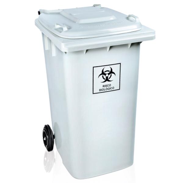 Carrinho Coletor de Lixo com Tampa 240 Litros Branca