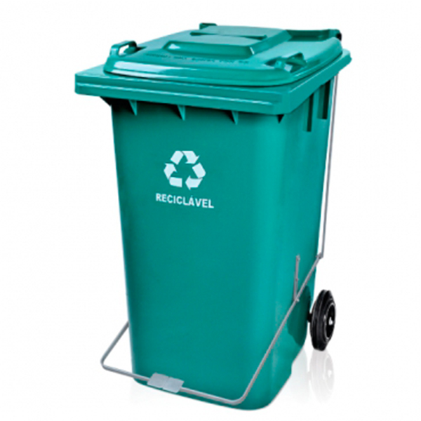 Carrinho Coletor de Lixo com Tampa 240 Litros Verde com Pedal