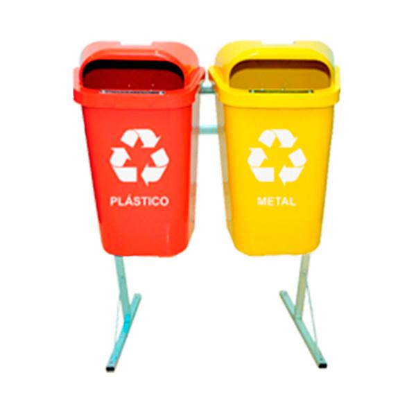 Coleta Seletiva de Lixo Reciclável 50 litros - 2 Lixeiras