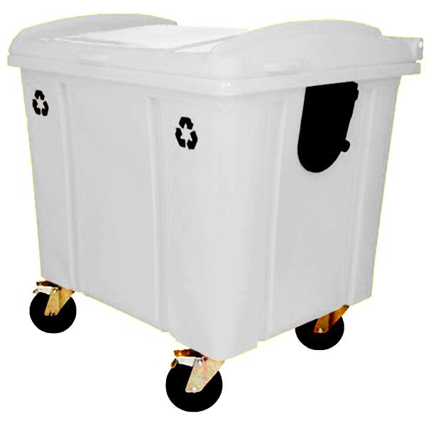 Carrinho Coletor de Lixo com Tampa 1000 Litros Branco