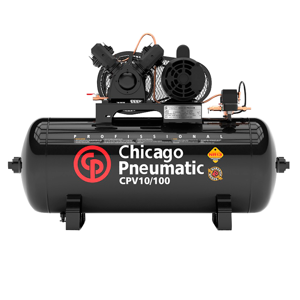 Compressor de Ar Chicago Pneumatic 100 Litros - 10 Pés