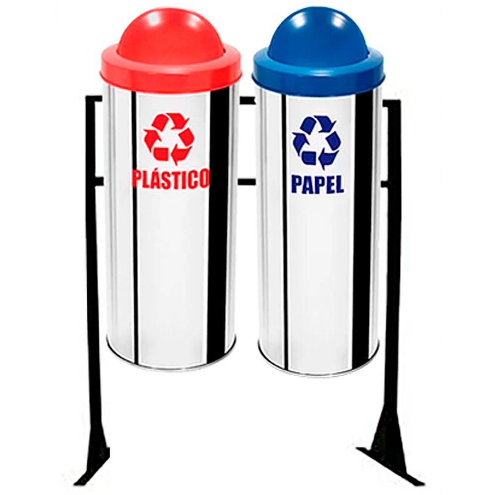 Conjunto de Coleta Seletiva de Lixo Reciclável Ecobin 23 litros - 2 Lixeiras