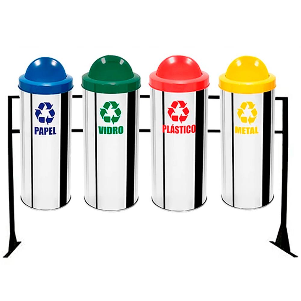 Conjunto de Coleta Seletiva de Lixo Reciclável Ecobin 23 litros - 4 Lixeiras