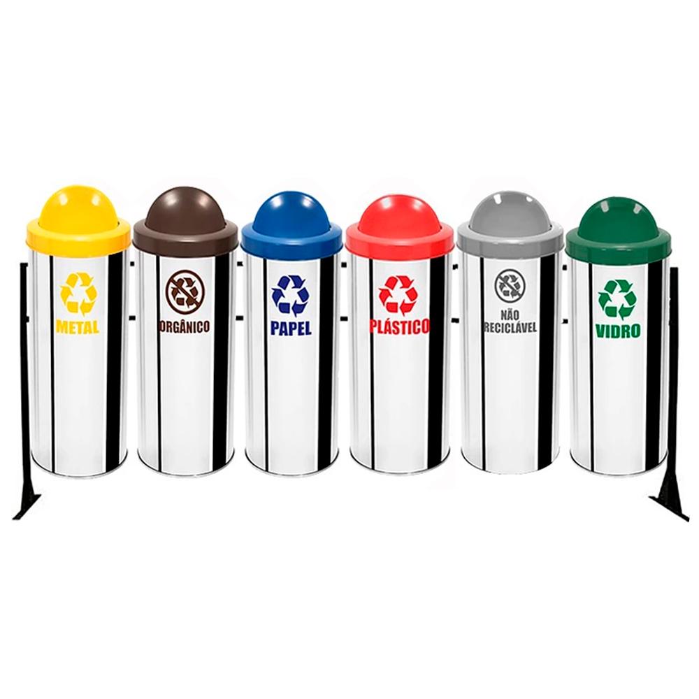 Conjunto de Coleta Seletiva de Lixo Reciclável Ecobin 23 litros - 6 Lixeiras