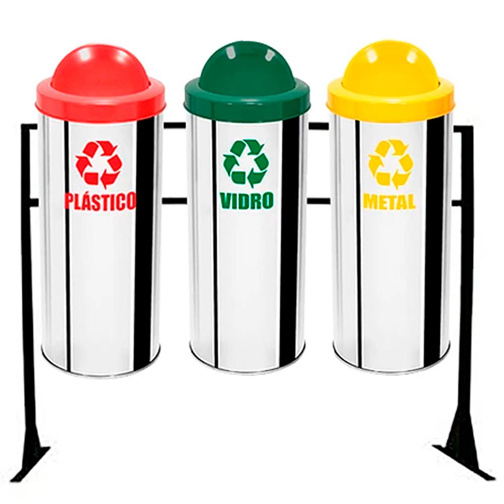 Conjunto de Coleta Seletiva de Lixo Reciclável Ecobin 31 litros - 3 Lixeiras