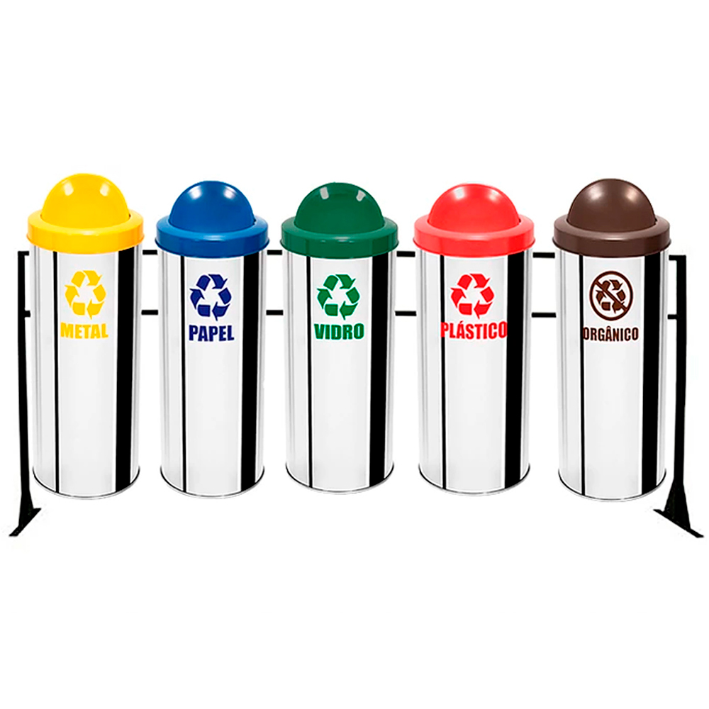 Conjunto de Coleta Seletiva de Lixo Reciclável Ecobin 31 litros - 5 Lixeiras