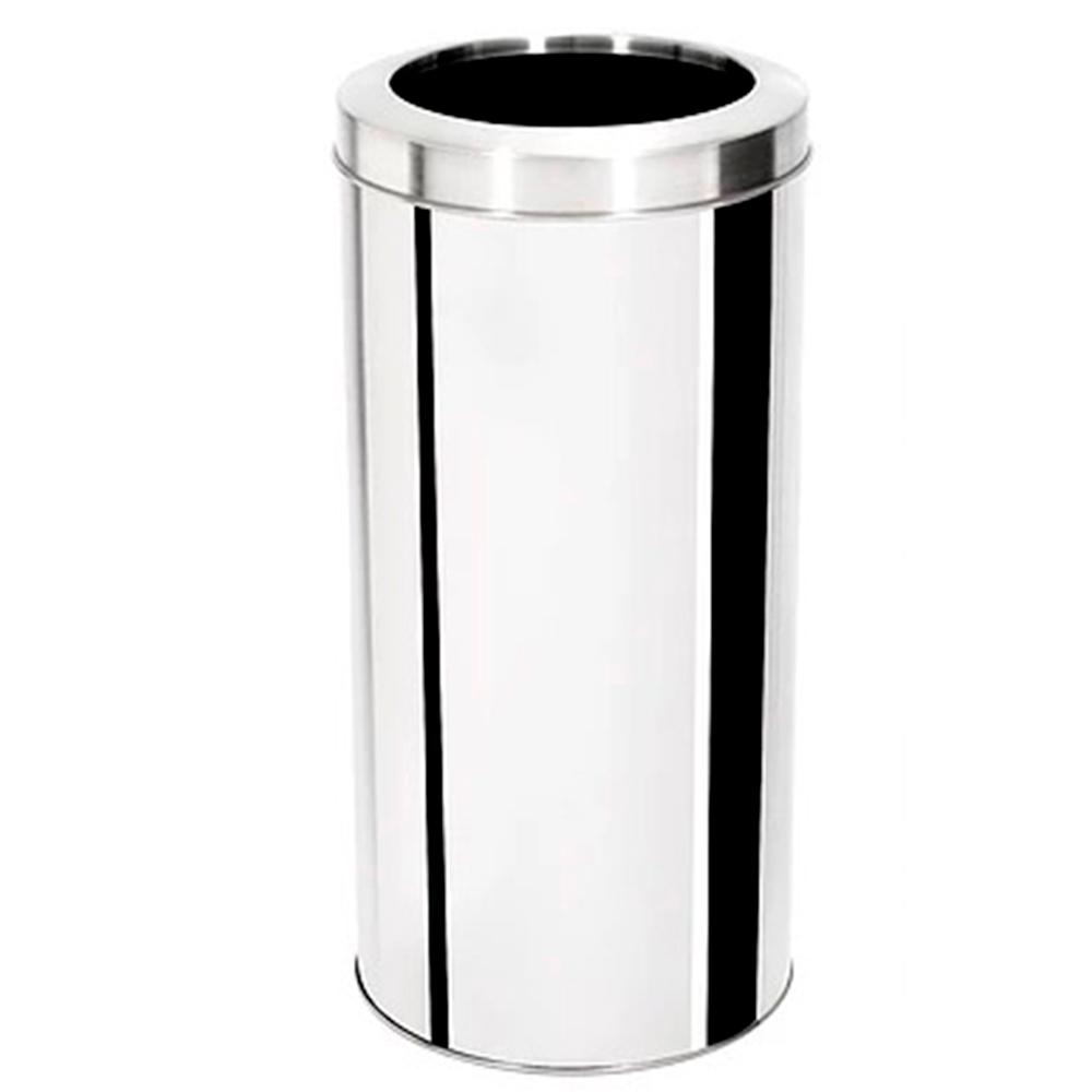 Lixeira com Tampa Aro Aço Inox Ecobin 50 litros