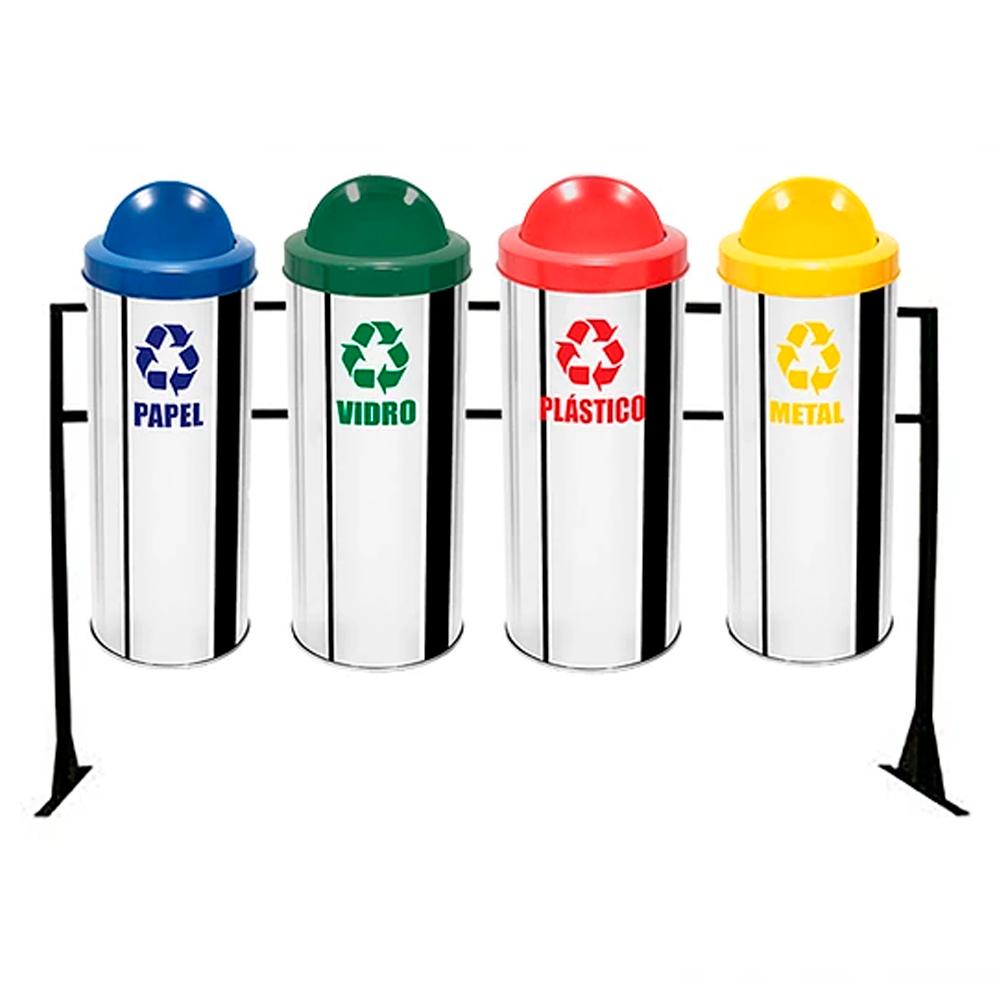 Conjunto de Coleta Seletiva de Lixo Reciclável Ecobin 50 litros - 4 Lixeiras