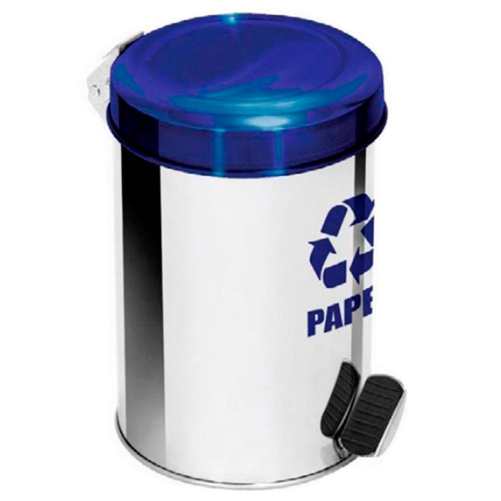 Lixeira Seletiva Pedal Aço Inox para Papel Ecobin 7 litros