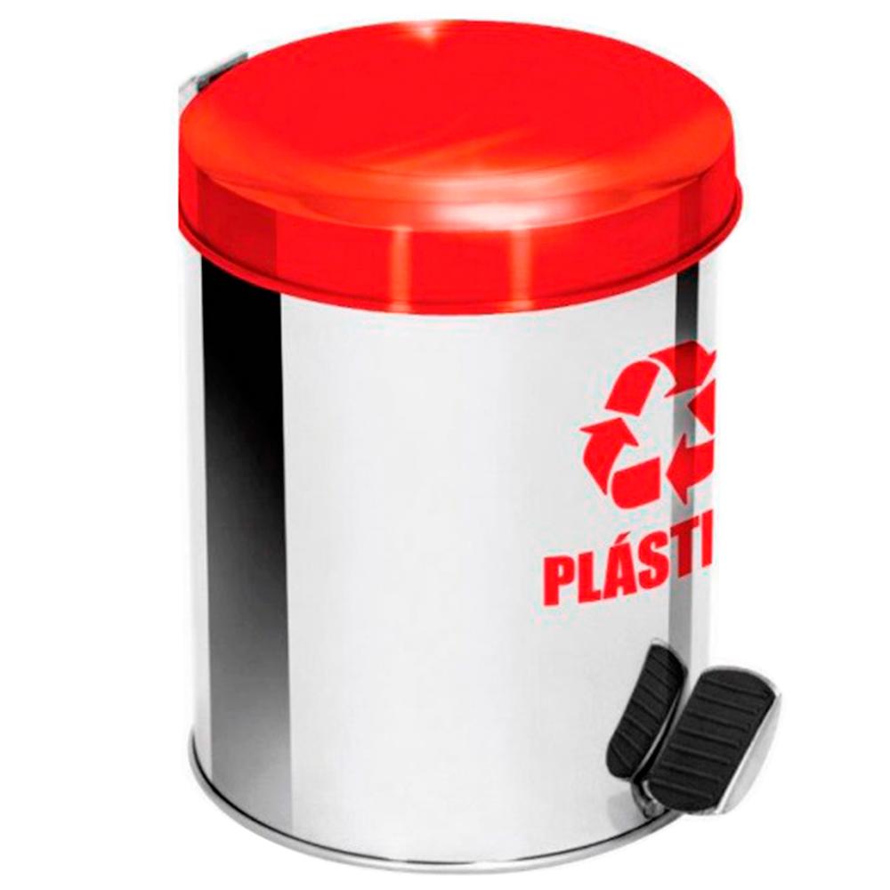 Lixeira Seletiva Pedal Aço Inox para Plástico Ecobin 50 litros