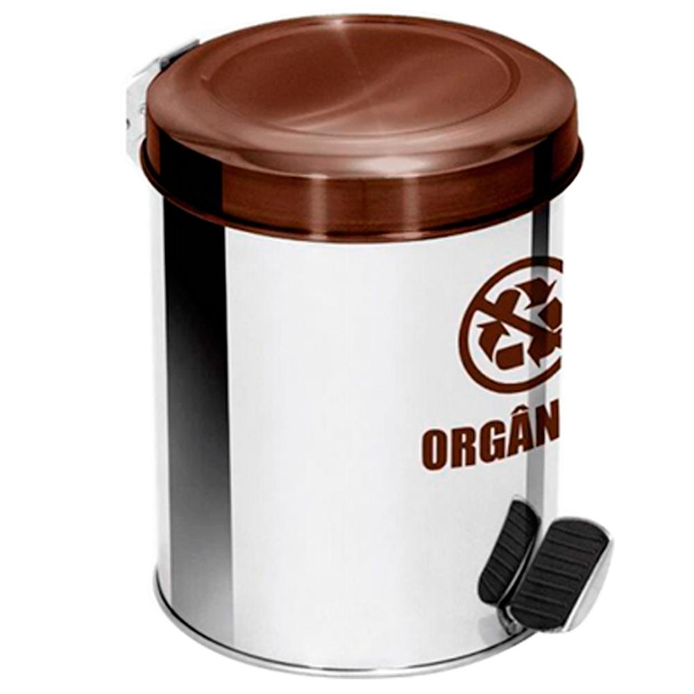 Lixeira Seletiva Pedal Aço Inox para Lixo Orgânico Ecobin 65 litros