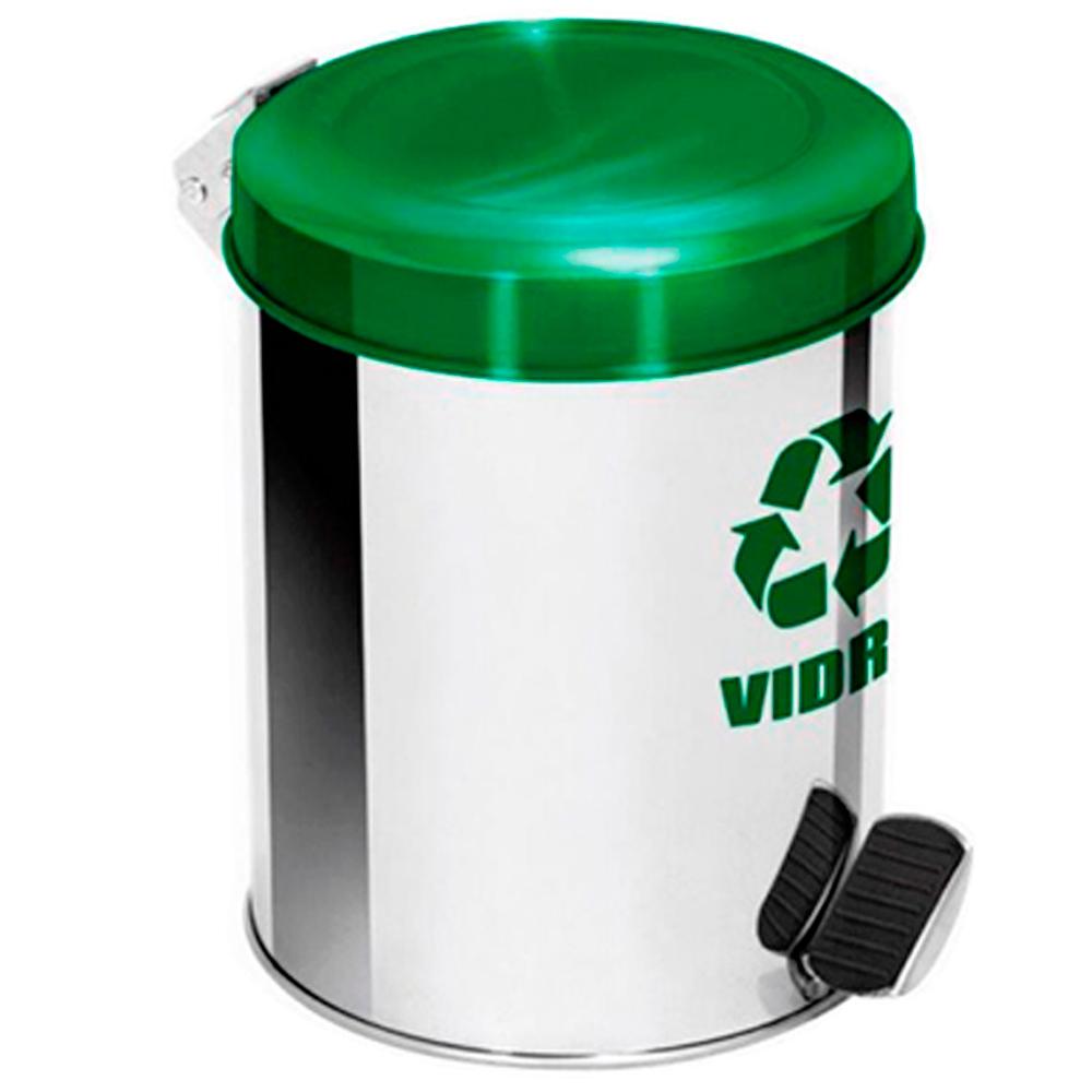 Lixeira Seletiva Pedal Aço Inox para Vidro Ecobin 5 litros