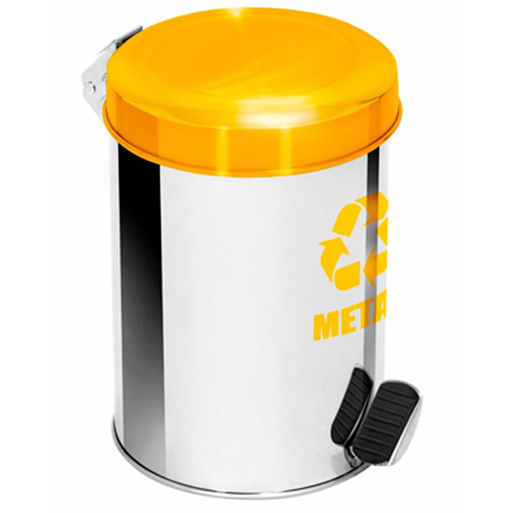 Lixeira Seletiva Pedal Aço Inox para Metal Ecobin 50 litros