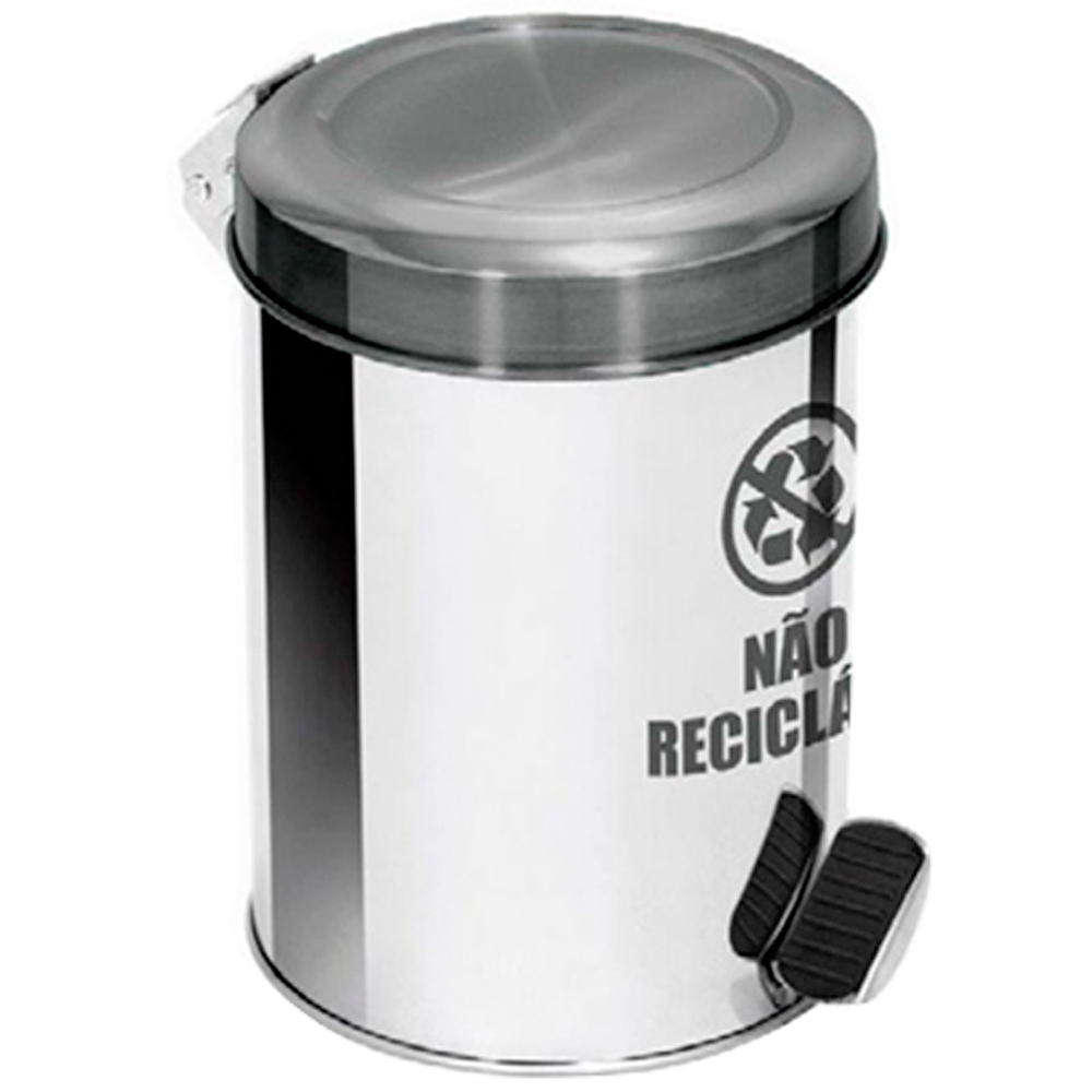 Lixeira Seletiva Pedal Aço Inox para lixo não reciclável Ecobin 50 litros
