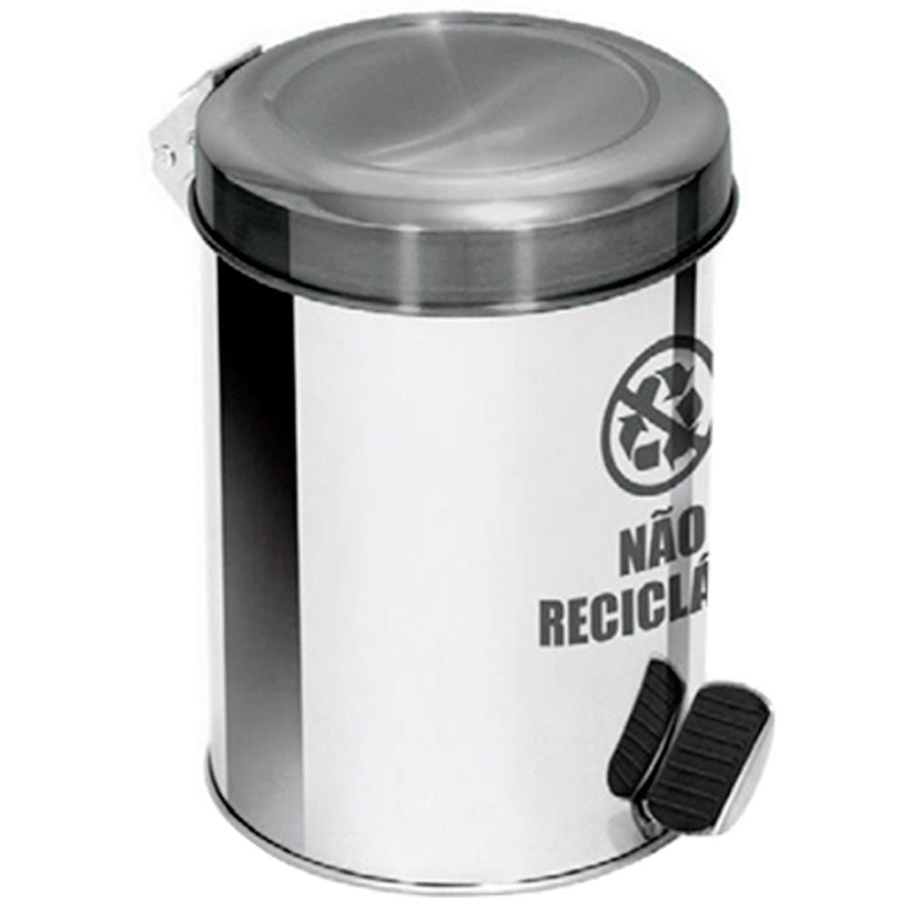Lixeira Seletiva Pedal Aço Inox para lixo não reciclável Ecobin 65 litros